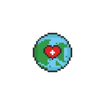 Pixel terra com coração branco cruz