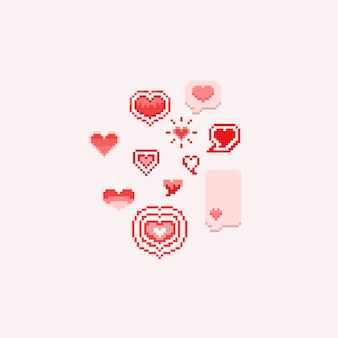Pixel valentine dos desenhos animados hearts.8bit.