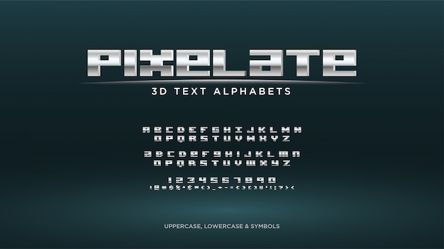 Pixel video game text alphabet