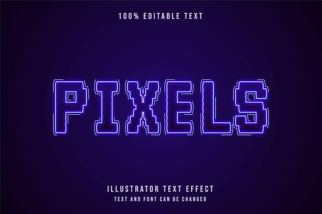 Pixels, efeito de texto editável estilo de texto neon gradação roxa moderna