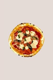 Pizza apetitosa com mussarela. ilustração vetorial