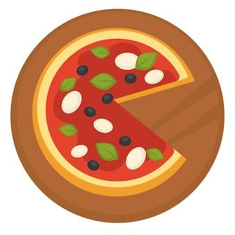 Pizza assada com molho de tomate, azeitonas e folhas de manjericão com mussarela. cozinha italiana servida em tábua de madeira. restaurante ou pizzaria. café da manhã ou jantar em lanchonete ou lanchonete. vector no plano
