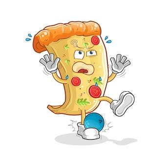 Pizza atingida pelo mascote dos desenhos animados de boliche. mascote mascote dos desenhos animados