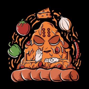 Pizza buddha com ilustração de páprica, tomate, queijo, cebola e salsicha