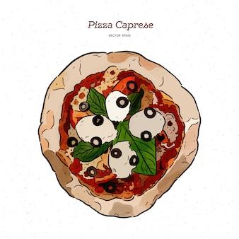 Pizza caprese com mussarela, tomates, azeitonas e folhas de manjericão.