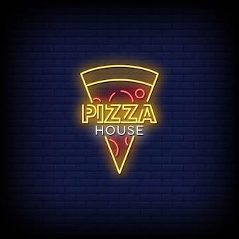 Pizza casa com sinais néon estilo texto