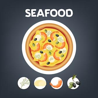 Pizza com camarão. comida italiana com queijo