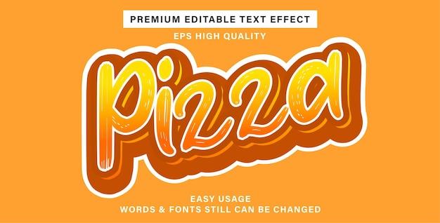 Pizza com efeito de texto editável