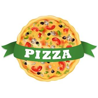 Pizza com fita verde, sobre fundo branco, ilustração