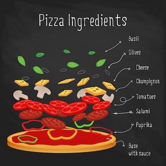 Pizza com ingredientes no quadro-negro. receita italiana