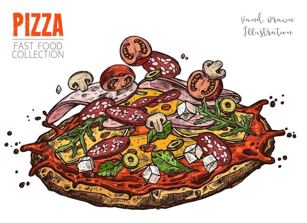 Pizza com salame, fiambre, tomate cereja, queijo feta, azeitonas, cogumelos e queijo.