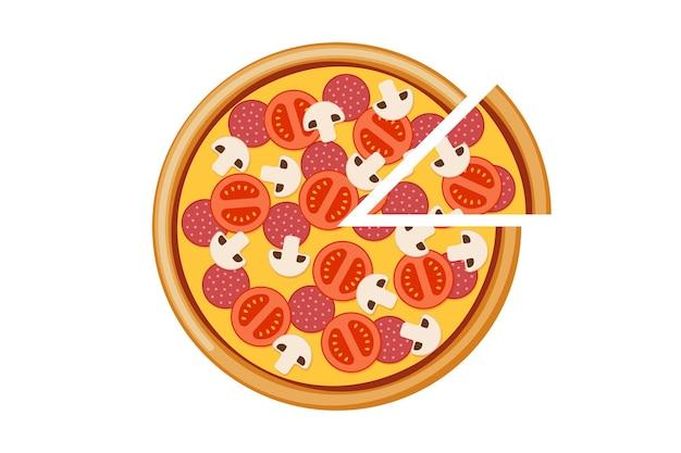 Pizza com tomate, cogumelo, salame e fatias de queijo, refeição italiana fast-food isolada vetor eps