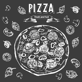 Pizza com um conjunto de ingredientes de pizza para o menu do projeto fundo de fast-food vintage vector