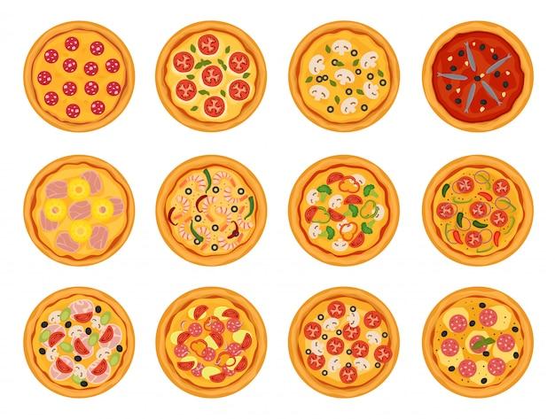 Pizza comida italiana de vetor com queijo e tomate no conjunto de ilustração pizzaria ou pizzaria de torta assada na itália isolado no branco