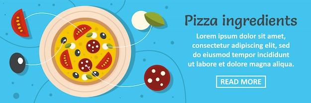 Pizza conceito banner modelo horizontal de ingredientes