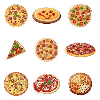 Pizza conjunto de ícones