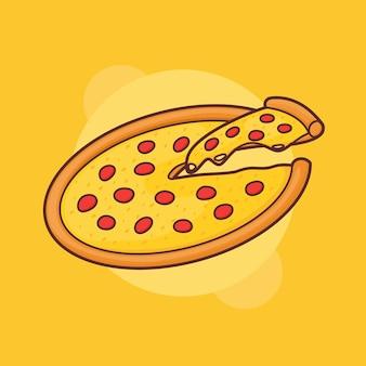 Pizza cortada integralmente com queijo mussarela derretido entrega fast food