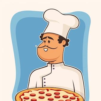 Pizza de chef em quadrinhos