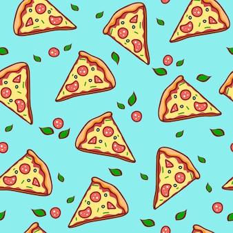 Pizza de mão desenhada. doodle pizza sem costura padrão