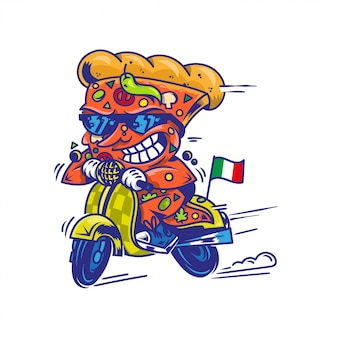 Pizza de peça grande louca do símbolo do logotipo dirigindo a scooter retrô de alta velocidade e tente a comida de rua de entrega mais rápida comer pizza estilo moderno ilustração cartoon personagem isolado fundo branco.