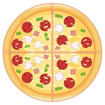 Pizza de pepperoni no fundo branco