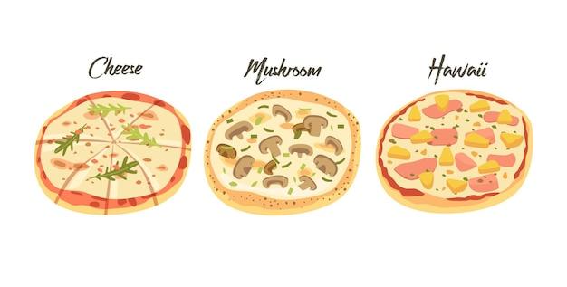 Pizza de queijo, cogumelo e havaí, ícones de fast food. refeição de lixo de rua, lanche para viagem com verduras e legumes