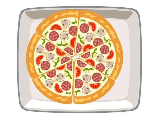Pizza de vetor cogumelos no prato superior fundo branco