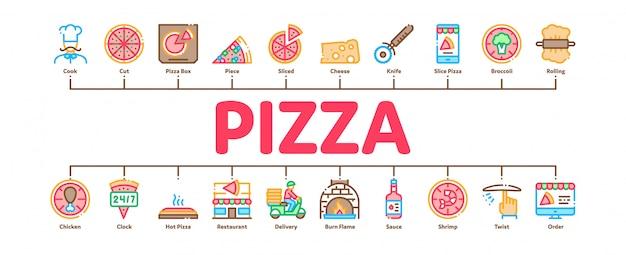 Pizza deliciosa comida mínima infográfico banner