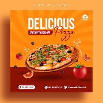 Pizza deliciosa oferece modelo de banner de postagem de mídia social