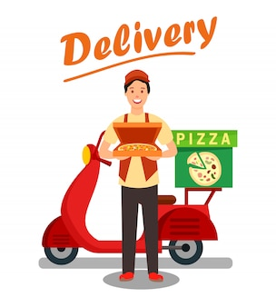 Pizza delivery man cartoon ilustração vetor