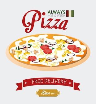 Pizza design, ilustração vetorial.