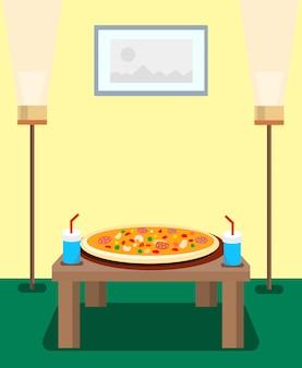 Pizza e bebidas com gás cartoon ilustração