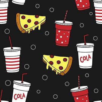 Pizza e cola padrão sem emenda.