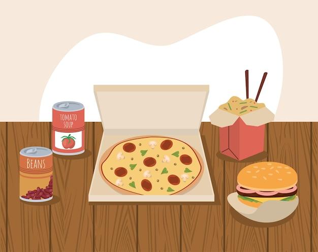 Pizza e comida caseira