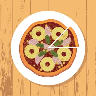 Pizza e fatia de pizza na chapa branca