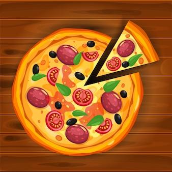 Pizza e fatia de triângulo com diferentes ingredientes tomate, queijo, azeitona, salsicha, manjericão.
