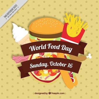 Pizza e hambúrguer para o dia mundial de alimentos