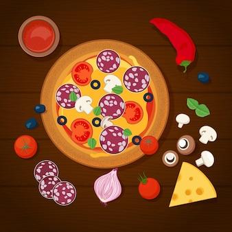 Pizza e ingredientes em fundo de madeira