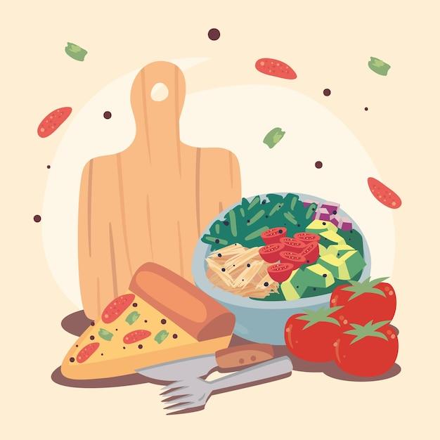 Pizza e vegetais comida caseira