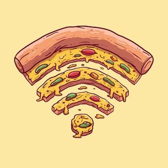 Pizza em forma de um símbolo de wifi. tecnologia, fast food, pizza, comida, internet, conceito de design de mídia social