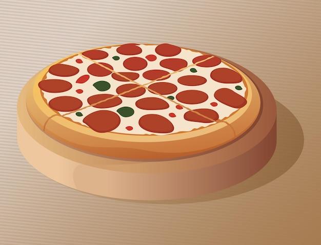 Pizza em um prato redondo em um fundo marrom