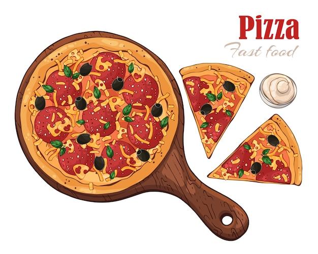 Pizza em uma placa.