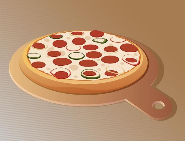 Pizza em uma tábua redonda em um fundo marrom