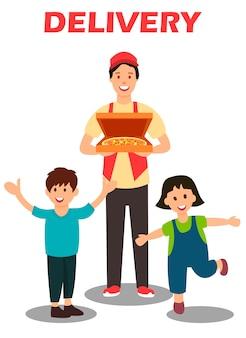 Pizza entrega serviço cartoon ilustração