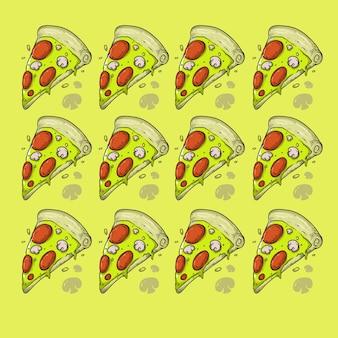 Pizza fast-food com padrão de design de textura cogumelo sem emenda