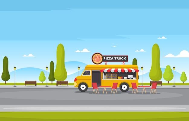 Pizza fast food truck van carro veículo ilustração loja de rua