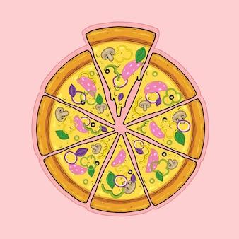 Pizza fatiada com linguiça presunto presunto pimentões cebolas manjericão cogumelos azeitonas e queijo
