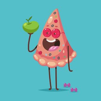 Pizza fofa com maçã e personagem de desenho animado de halteres isolada. ilustração do conceito de comida saudável e pouco saudável.