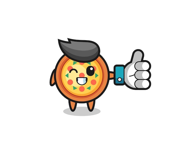 Pizza fofa com símbolo de polegar para cima de mídia social, design de estilo fofo para camiseta, adesivo, elemento de logotipo