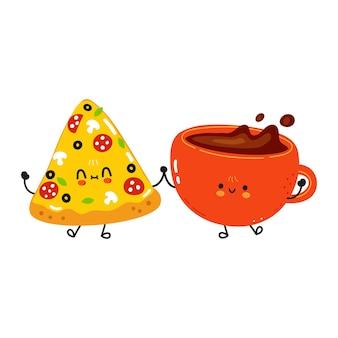 Pizza fofa feliz e conceito de amigos na xícara de café